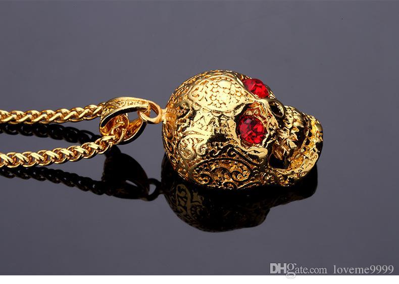 Hip hop Golden Skull Head Pendants Necklaces with Red Stone Eyes Gem Ghost Wings Crystal Skull Head Rock Mens Skeleton Jewelry
