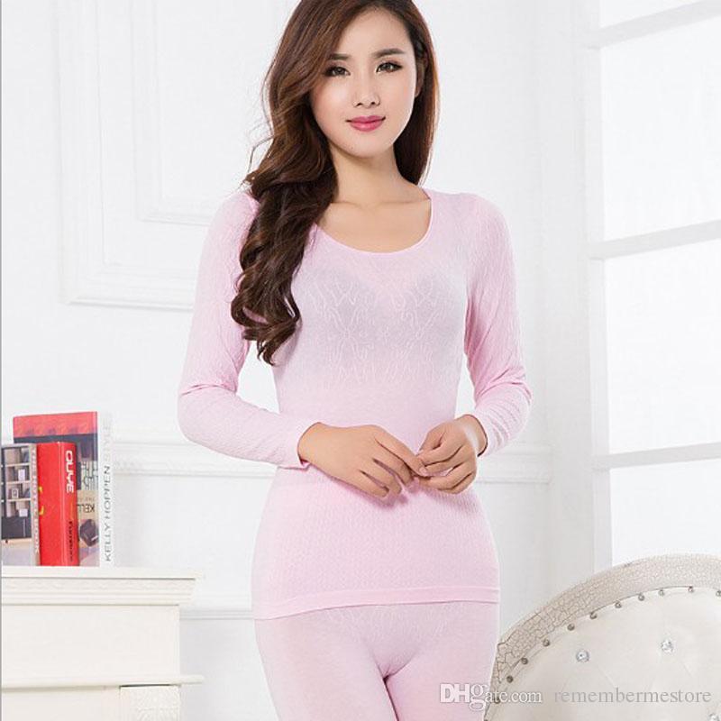 4 Renkler Sonbahar Kış Kadın Sıcak Termal Iç Çamaşırı Kadın Paçalı Don Uzun Kollu Termal Giyim Underwears Setleri