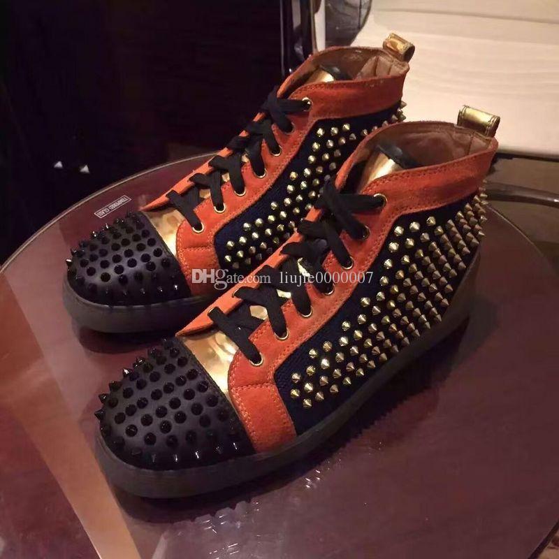 Оригинальная коробка женщины мужчины обувь Красное дно Sneaker роскошные свадебные туфли из натуральной кожи Louisfalt Шипы босоножки Повседневная обувь черный белый