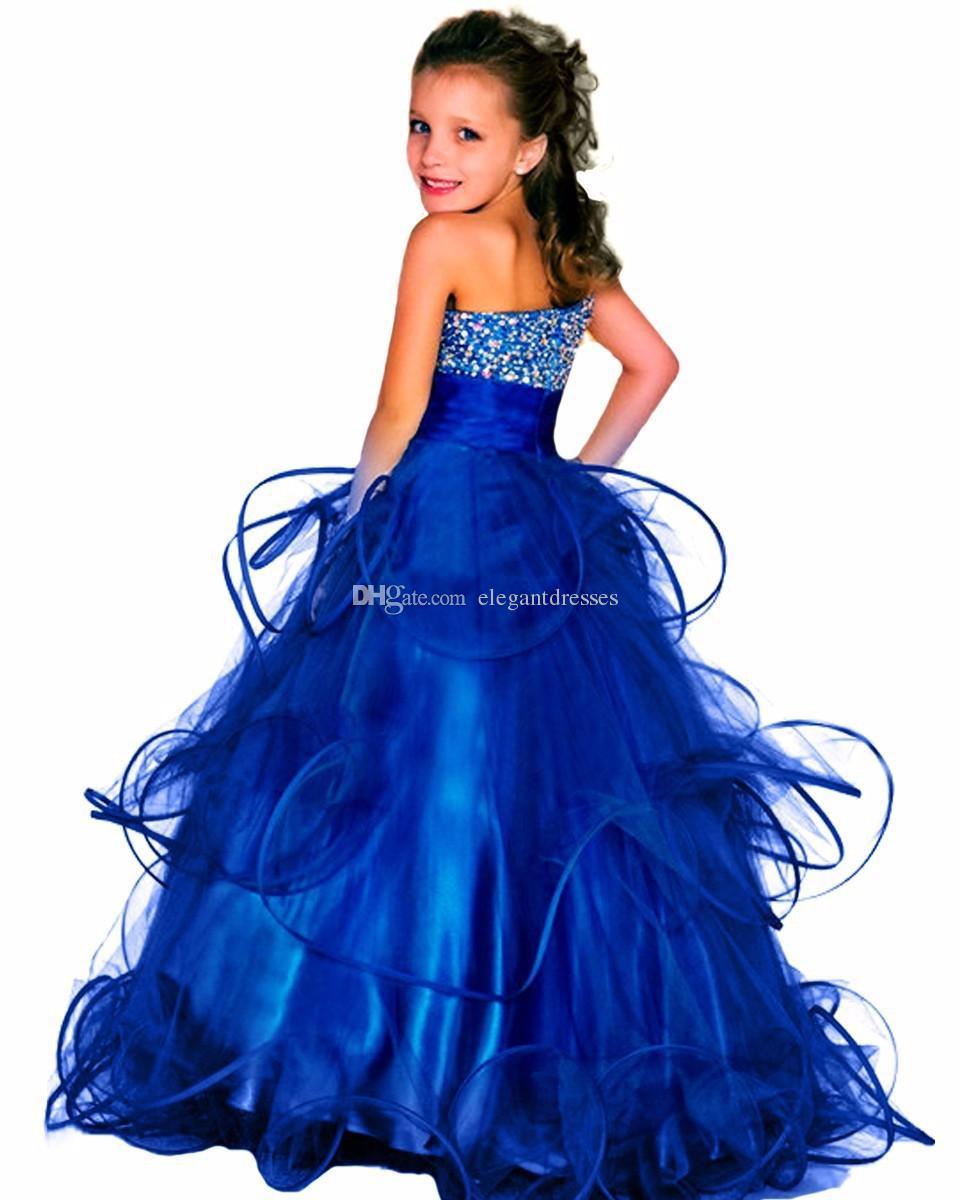 +2018 бисер элегантного соблазнительный Pageant платье для девочек пушистого длинных детей прома платье королевского синих театрализованного бального платья платья для цветочниц