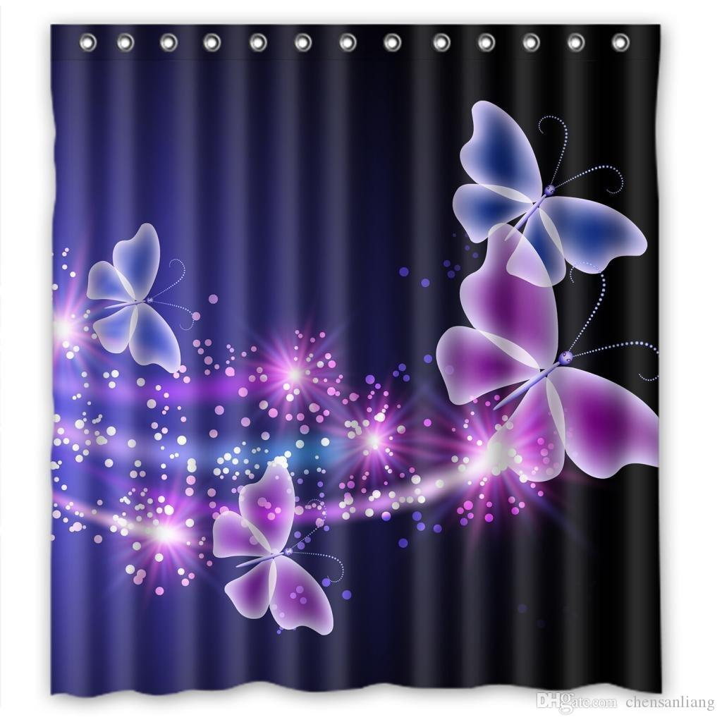 2018 Shower Curtain Pink Purple Butterfly Bathroom Polyester Curtains Waterproof Antibacterial With 12 Hooks Bath From Chensanliang