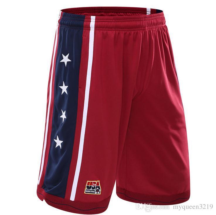 2017 새로운 미국 농구 반바지 남자 훈련 반바지 여름 해변 스포츠 반바지 3 색 플러스 사이즈
