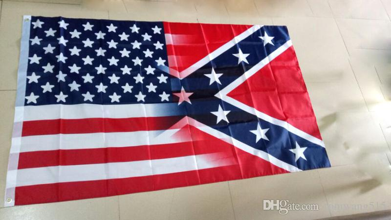 2018 american flag with confederate rebel civil war flag new style
