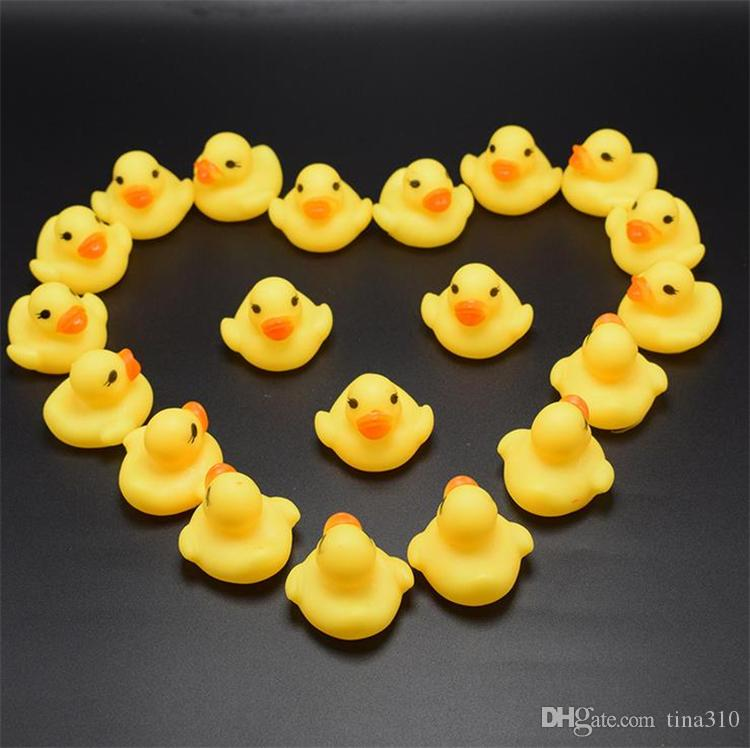 High Quality Baby Bath Water Duck Toy Sounds Mini Yellow Rubber Ducks Bath Small Duck Toy Children Swiming Beach Gifts Bath Toys GC50