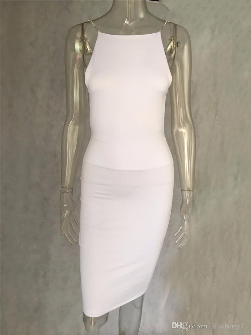Venda quente sexy dress 2 cor sólida preto branco vestidos de verão slash pescoço cadeia de lantejoulas na altura do joelho bodycon backless dress frete grátis