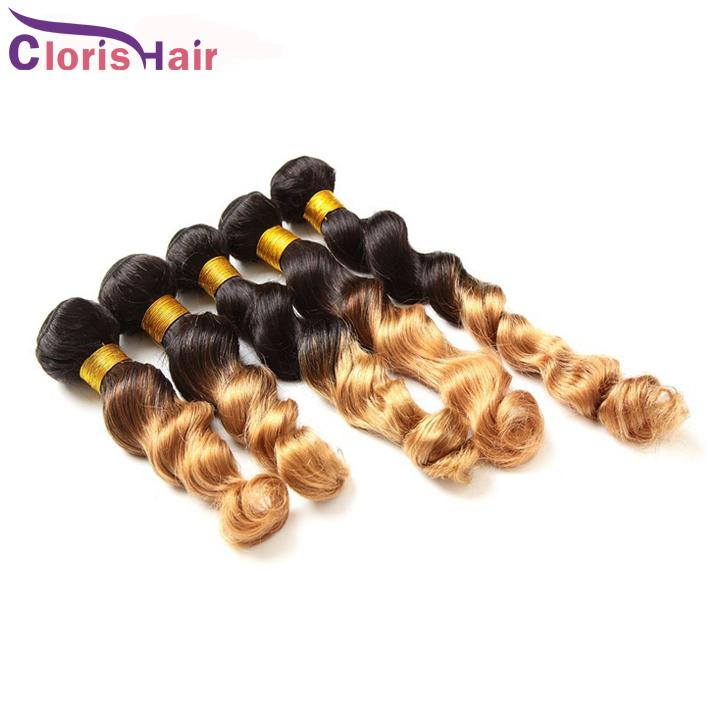 Dark Roots Blonde Ombre Weave Loose Wave Malaysian Human Hair