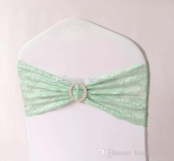 Lace Chair Bands Wedding Party Banquet Home Lace Spandex With Rhinestones For Chair Covers Chair Sashes Bows