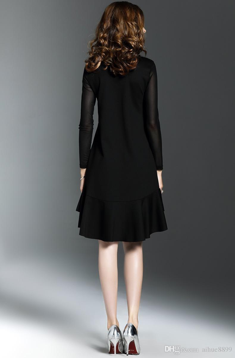 women dress fashion Spring ball gown dress vintage retro summer dresses crew neck long sleeve women dresses plus size new 2017