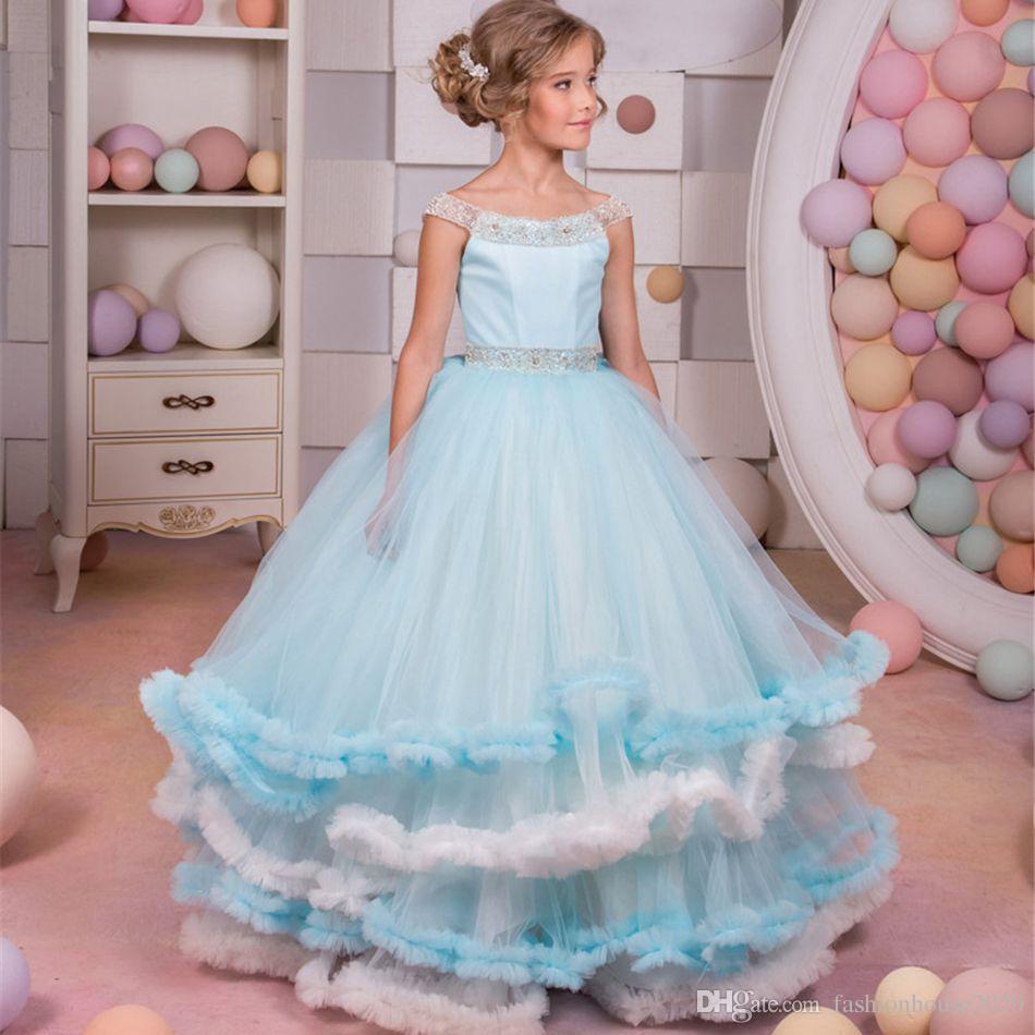 73dd76b32800 Ice Blue Tulle Princess Flower Girl Dresses For Weddings Scoop Neck ...