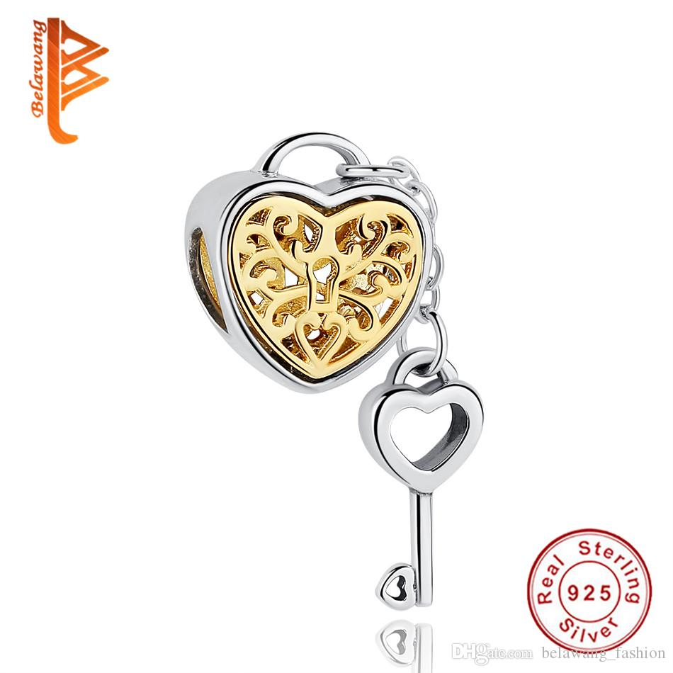 bf8e3d920 2019 BELAWANG Real 925 Sterling Silver Heart Lock&Key Charms With Link Big  Hole Loose Beads Fit Pandora Charm Bracelet&Bangle DIY Jewelry Making From  ...