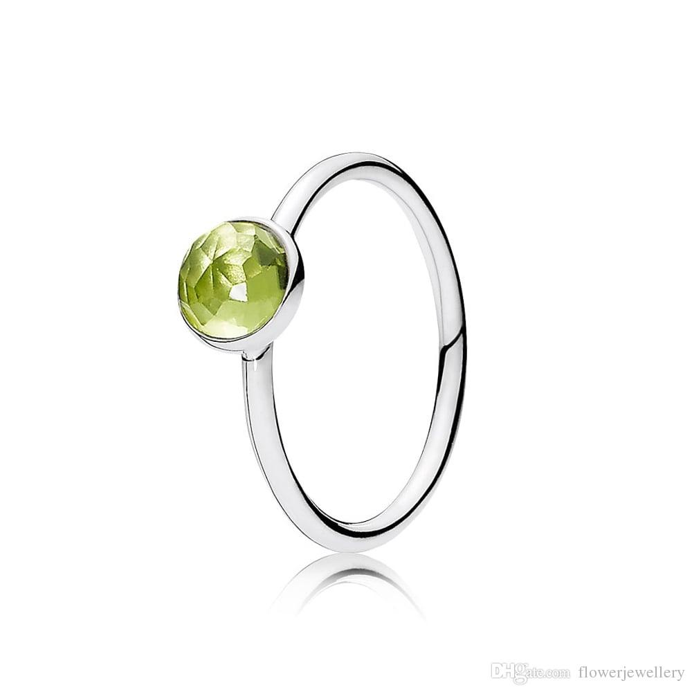 August Droplet, Peridot, 925 Silver Ring European Brand Style Birthstone Ring 191012PE