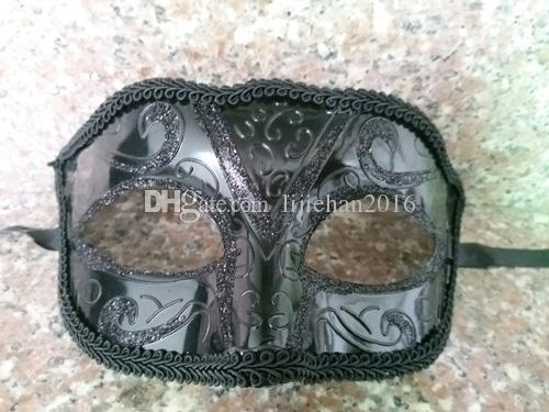 Unisex Sparkle Glitter Lace side Masquerade Venetian Mask Mardi Gras Party Mask Costume Decorations One Size Fit Most -Black