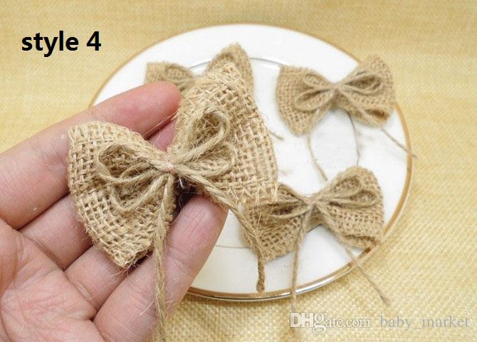 NNatural Jute Burlap Hessian Bowknot Handmade Pearl Bow white Trim Lace Vintage Wedding Decoration Hair Bow Hat Craft /