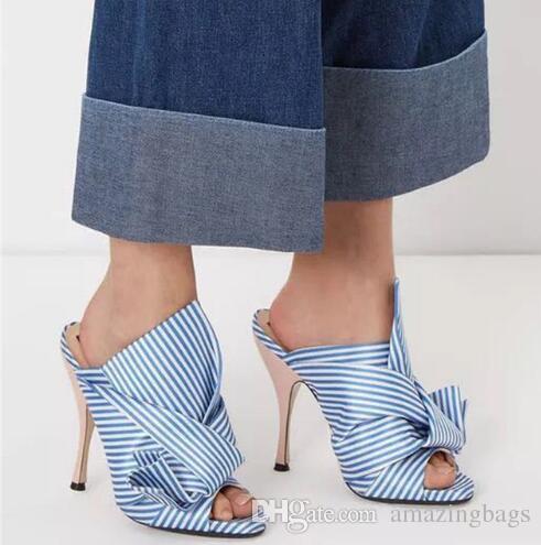 En düşük fiyat! Saten Yay-düğüm Sandalet Yüksek Topuklu Büyük Yay Düğümlü Gladyatör Ayak Bileği Strappy Terlik Dışında Slaytlar Ayakkabı Kadınlar
