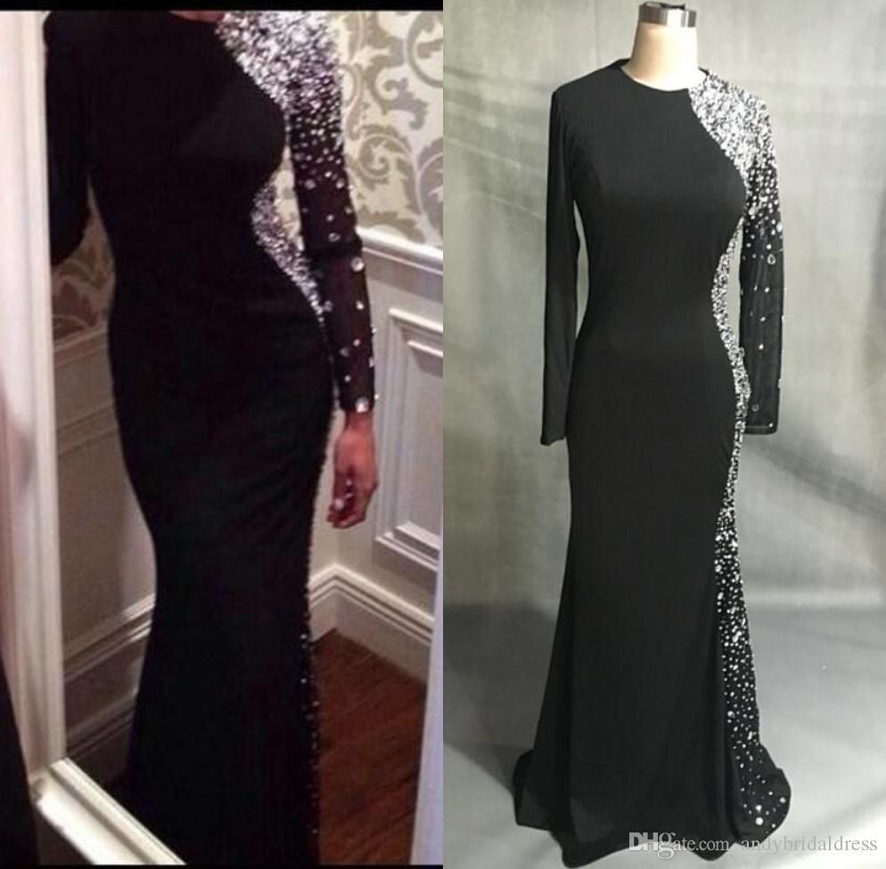 Nuovi vestiti da sera della sirena della Jersey nera sexy maniche lunghe Abiti di promenade di lunghezza del pavimento dei cristalli in rilievo 2019