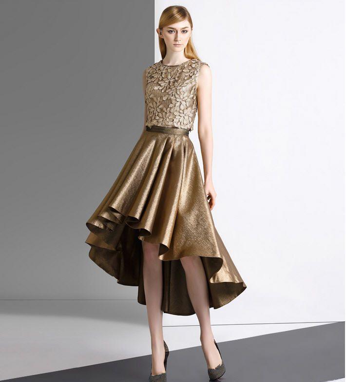 Graceful Golden Evening Dresses Short Front Long Back Two Pieces ...