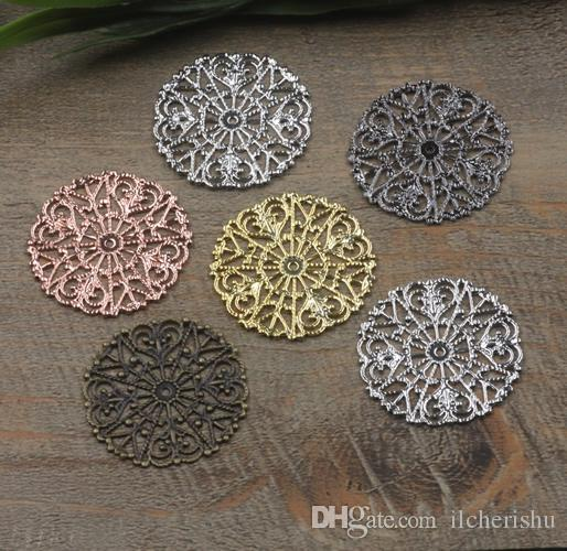 31mm antique bronze/silver/rose gold/gun black Copper filigree flower charms for jewelry making, handmade metal bracelet pendants findings