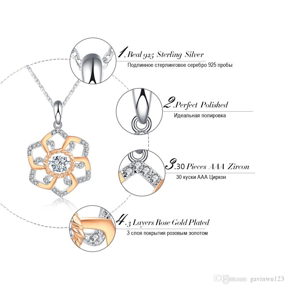 Genuino collar lindo colgante de plata 925 con 0.3ct CZ movible brillante mezclado collares de color oro rosa SN13