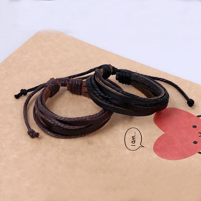Черный коричневый кожаный браслет плетеный многослойный регулируемый браслет манжеты браслеты для женщин мужчины старинные ювелирные изделия груза падения