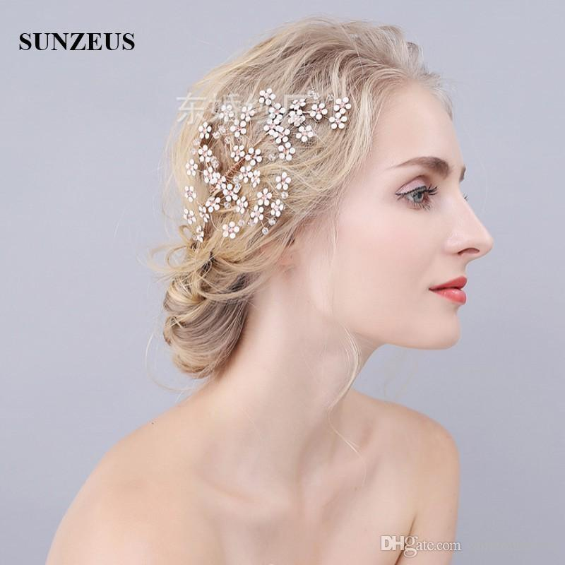Lüks Çiçekler Vintage Saç Tarak Yüksek Sınıf El Yapımı Gelin Baş Aksesuarları Düğün Için Toptan Altın Taraklar