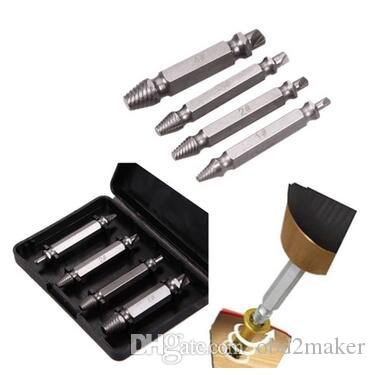 Popular Brand Tool 4pcs Screw Extractor Drill Bits Guide Set Broken Damaged Bolt Remover Screw Tools Drill Bits
