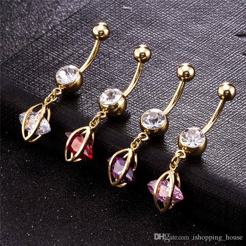 Europe and America New Trendy Gold Plated Sweet Belly Ring CZ Crystal Body Navel Ring for Girls Women BR-188
