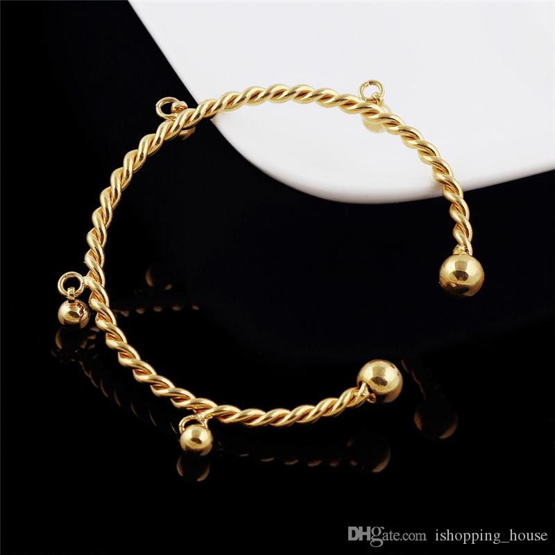 New Fashion Simple Design 18K Yellow Gold Plated Adjustable Open Bracelet Bangle for Girls Women Party Wedding BNL-056