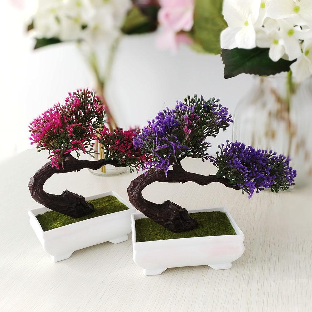 Satın Al Yapay çam Bonsai Bonsai Ağaçları çiçek Dekor Sahte Flowres