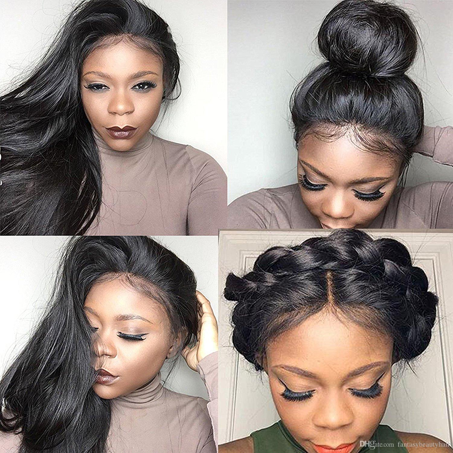 Human Hair full lace Wig 150 Density Straight 360 Lace Frontal Wig Pre Plucked With Baby Hair Natural Hairline Brazilian Remy Hair Wigs