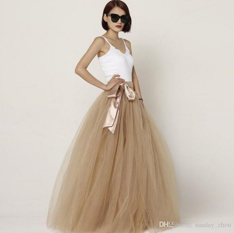e59c681d7 Moda mujer oscuro champán tul faldas largas Puffy Tutu piso-longitud  vestido de bola cintura faldas con fajas Maxi Saia