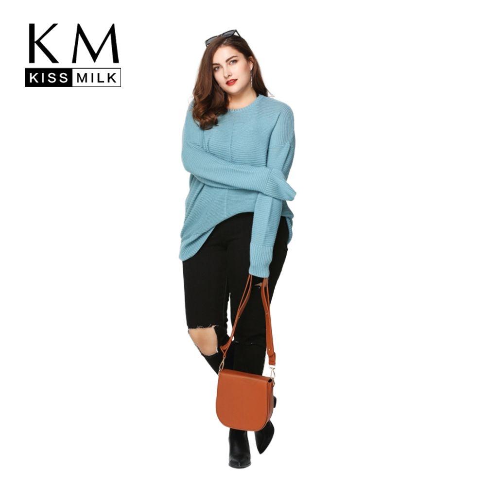 e2d559041b1 Wholesale- Kissmilk Plus Size New Fashion Women Clothing Basic Solid ...