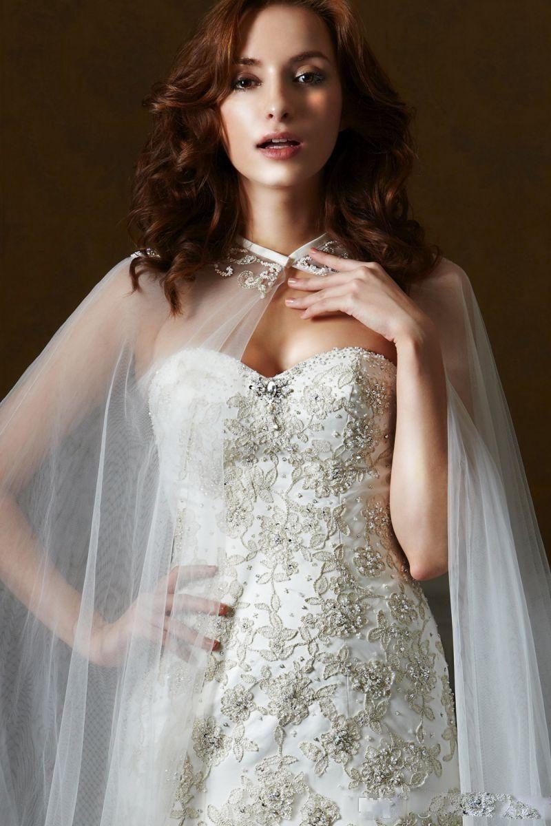 New Fashion Wedding Jackets White Lace Appliques Cloak Cape Beautiful Wedding Wrap Bridal Jackets Wedding Accessories Cheap