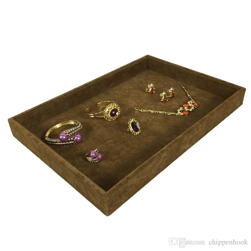 High Quality Velvet Jewelry Display Case Brown Necklace Bracelet Storage Organizer Tray Set Jewelry Display Flat Tray 35*24*3cm