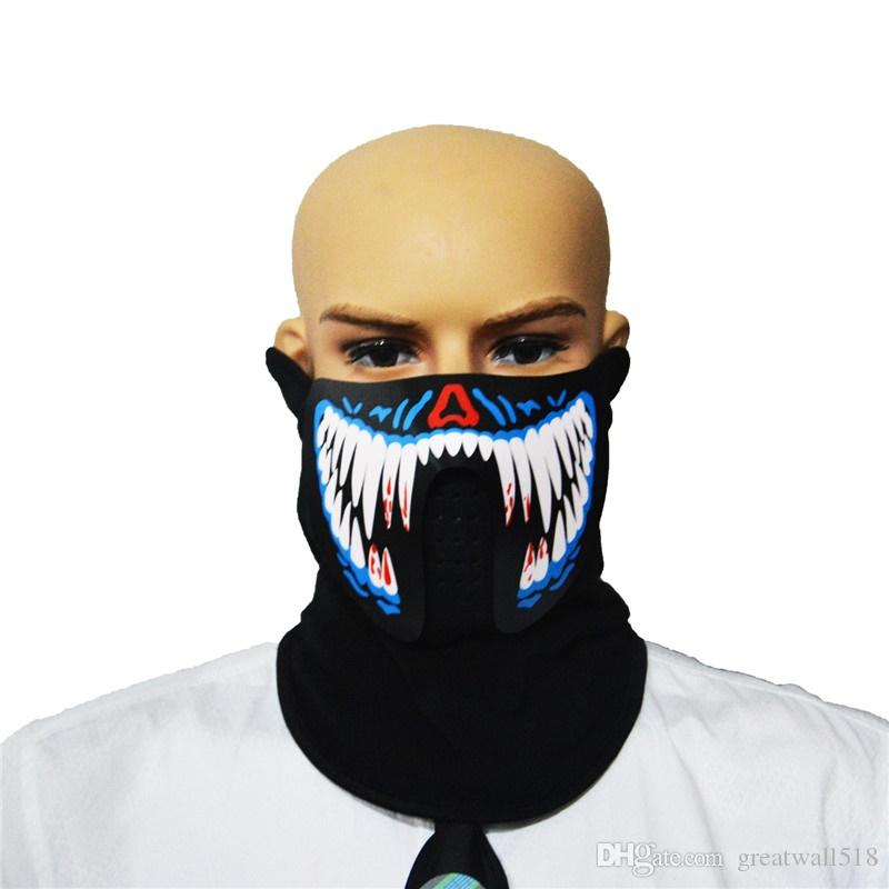 Maschera EL wire Light up Neon LED Mask la festa di Halloween Maschere Coplay di 3V Steady on Driver sound control blue tooth XLL09