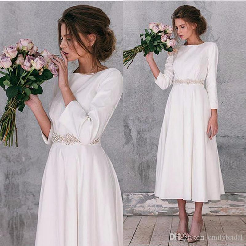 Country Wedding Dresses Satin Long Sleeve