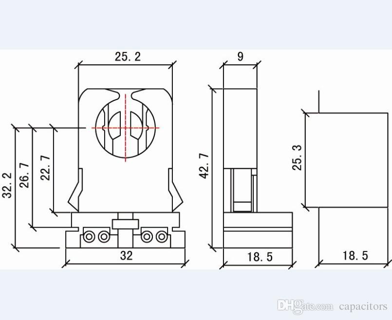 UPS DHL FEDEX Gratis Sin derivación T8 Soporte de lámpara Piedra de lápida para LED Tubos fluorescentes Reemplazo Tipo de portalámpara Medio Bi-
