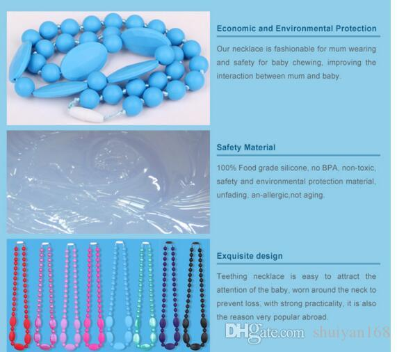 Newest Food Grade Silicone Teething Necklace with Oval Beads for Mommy Baby Chew Necklace Nursing Jewelry Christmas Gift