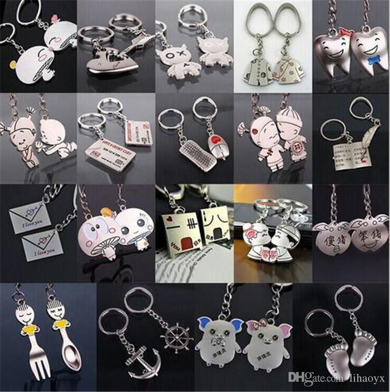 9023381c1a Hot Sale Zinc Alloy Silver Plated Lovers Gift Couple Heart Keychain Fashion  Keyring Key Fob Creative Key Chain TH69 Promotional Keyrings Custom Keyrings  ...