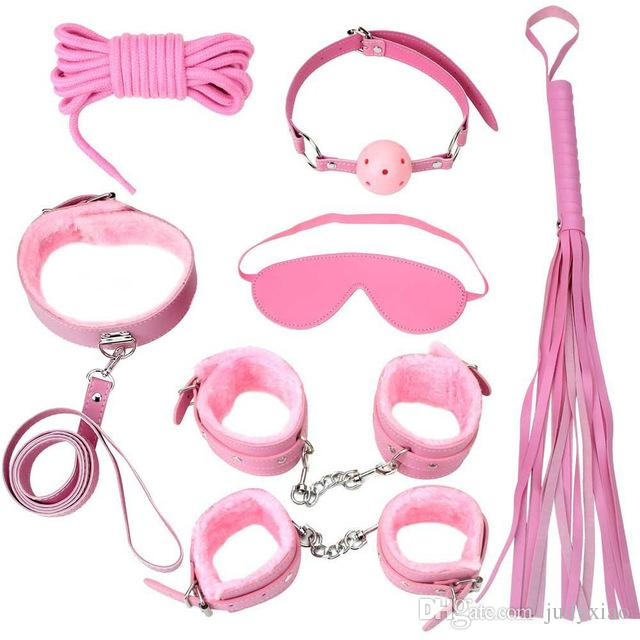 New Sex Bondage Kit Set Rope Ball Gag Furry Cuffs Whip Collar Blindfold Adult Sex Toy