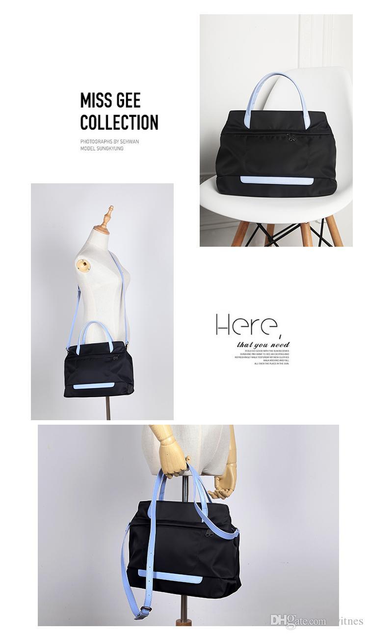 Nylon Oxford tela de color cuero de piel de vaca bolso portátil Hobos Versión original coreana de la nueva bolsa de viaje YKK Zipper