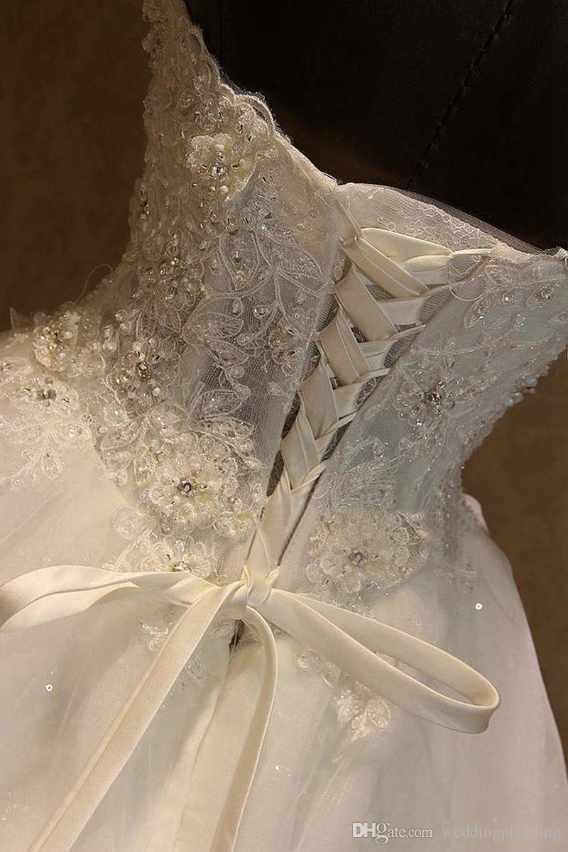 2017 Cheap Real Image Une ligne Robes de mariage chérie dentelle lacent perles Appliques Princesse Vintage Country Garden mariage Robes de mariée