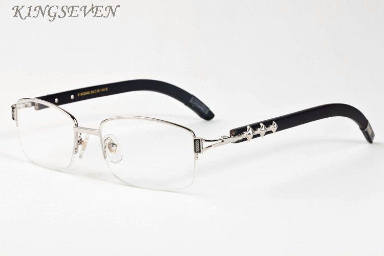 النظارات الشمسية نظارة شعبية للنساء الرجعية نصف إطار الخشب الخيزران نظارات الكامل الفضة إطار سبائك الذهب العقلي إطار رمادي عدسة أسود واضحة