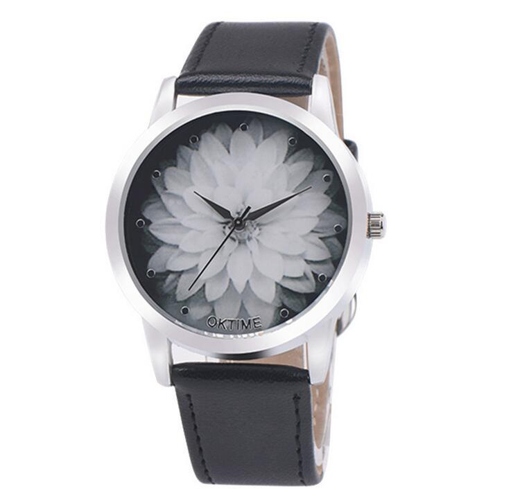 85f5b3627b4e OKTIME Brand Fashion Flower Lotus Printed Watches Women Crystal Analog  Quartz Wristwatch Lady Dress Leather Watch Clock Reloj Relogio Designer  Watches ...