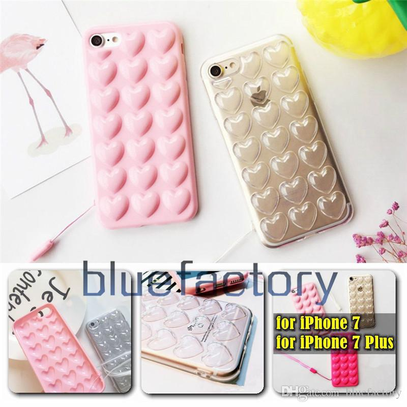 e3224bf525bae 3D Heart Case For Iphone 8 X 7 Plus With Lanyard Soft Lover Silicone Jelly  Luxury Phone Cover For 6 6s Plus Skin Back Shell With Hang Rope Best Phone  Cases ...