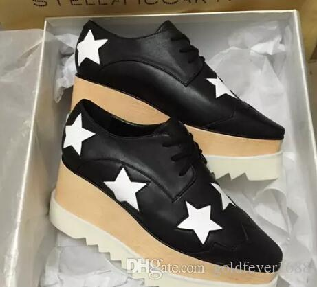 new Stella Mccartney women Shoes Apricot Color Genuine Leather Upper with Bronze Color Stars White Sole Stars Shoes Platform