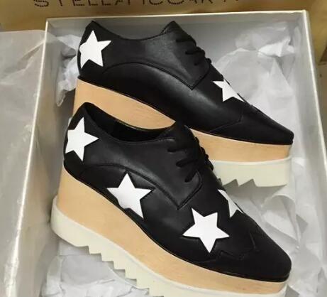 Nuevo envío gratis Stella Mccartney zapatos de mujer Derby Star Scarpe Elyse Wedge Platforma Oxford Gris Oscuro Espejo Cuero Suela Blanca