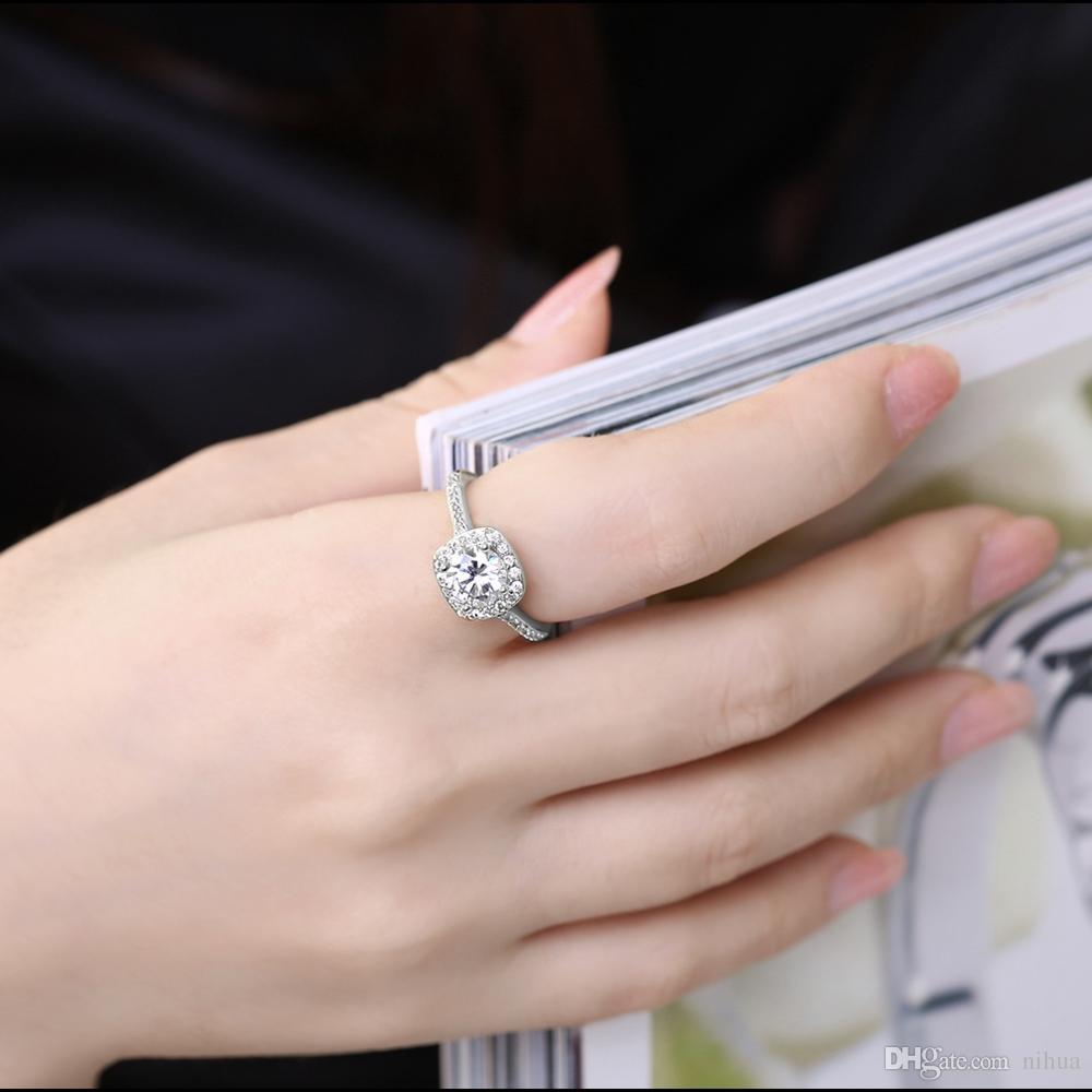 Luxury Stone Gold Plated Ring Women Girl Elegant Rose Golden Yellow Gold Crystal Wedding Gift Jewelry Finger Rings