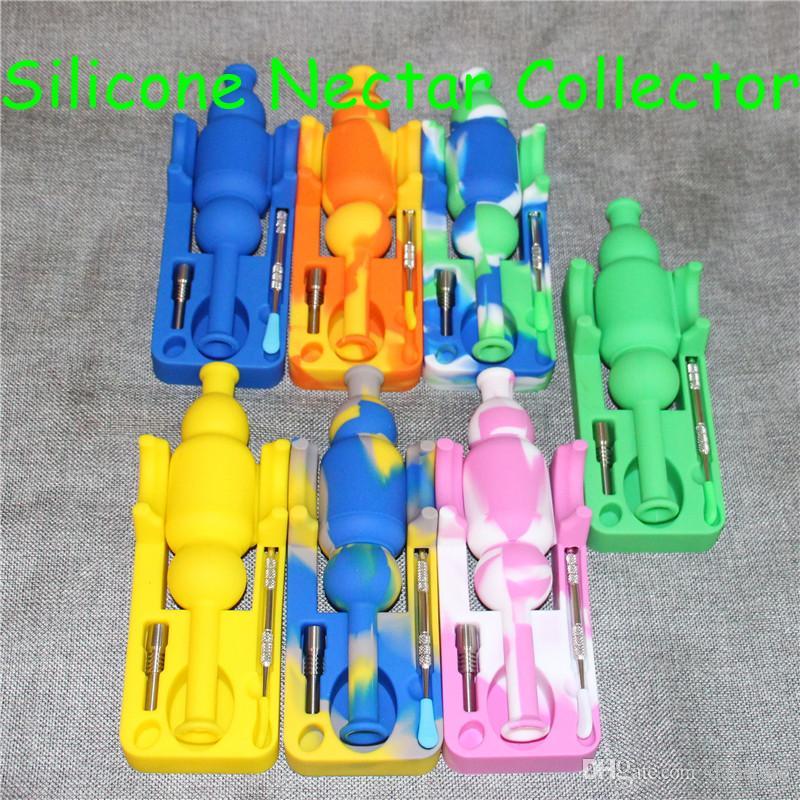 Vendita calda 10mm Mini Silicone Nectar Collezionisti kit con domeless ti Nail nector collettore piattaforme petrolifere bong in vetro silicone bong DHL