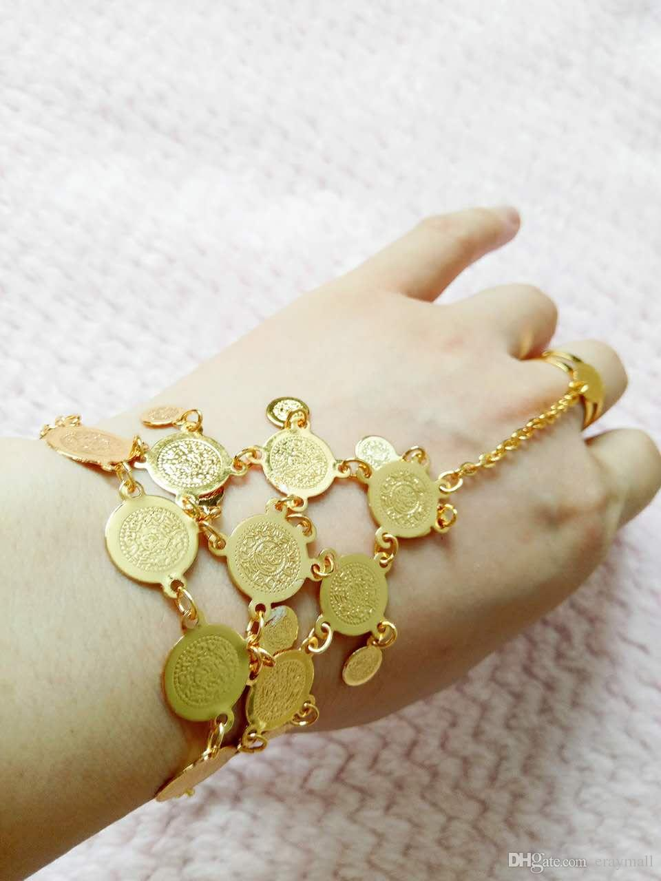 18 k gold plating bracelets with finger ring for women and extender chain free shipping