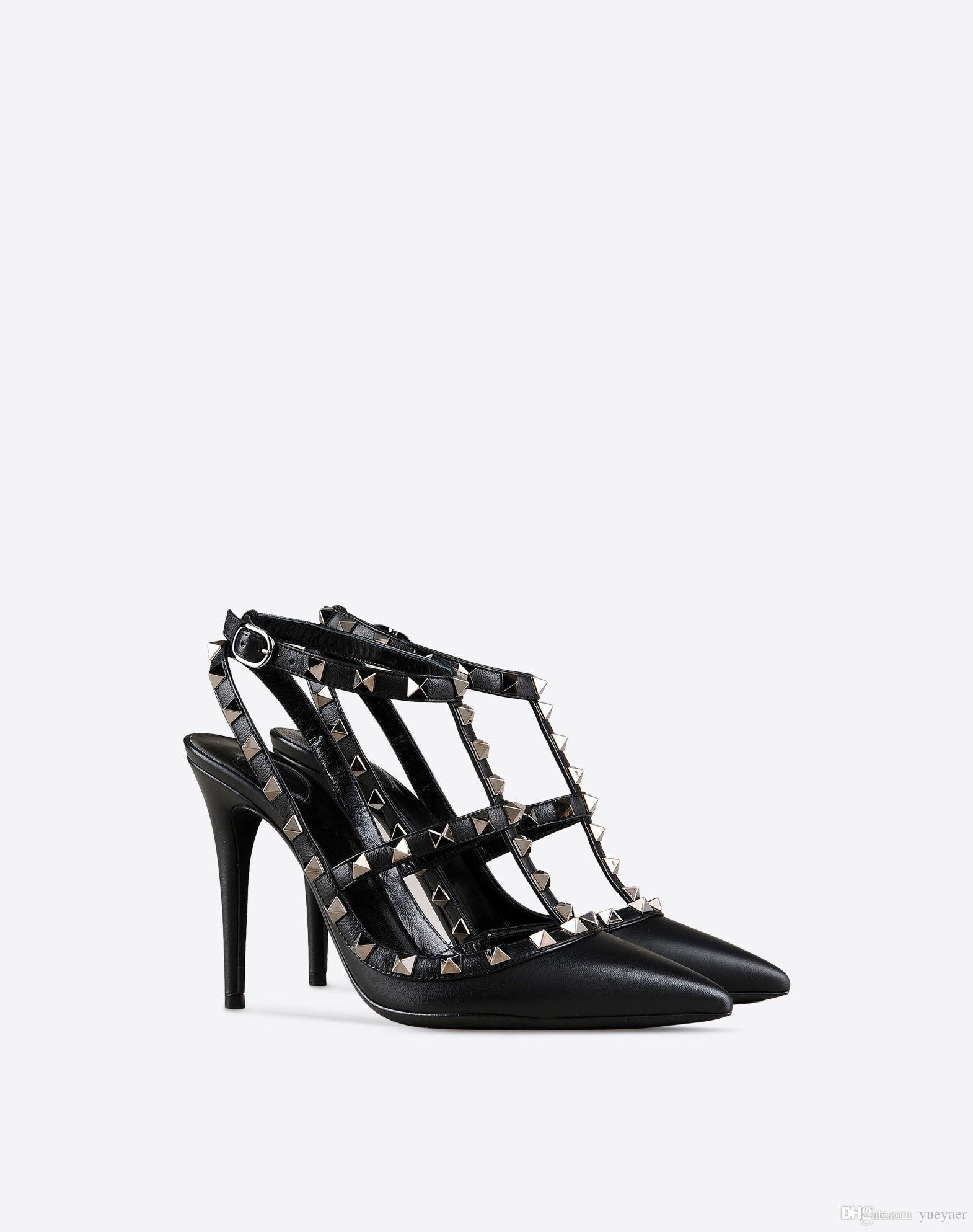 Zandina vendita calda donne fatti a mano moda 100 millimetri borchie j-cinghia a punta partito abito da sposa pompe tacco alto scarpe